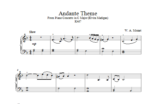 Wolfgang Amadeus Mozart Andante from Piano Concerto in C Major (Elvira Madigan) K467 sheet music notes and chords. Download Printable PDF.