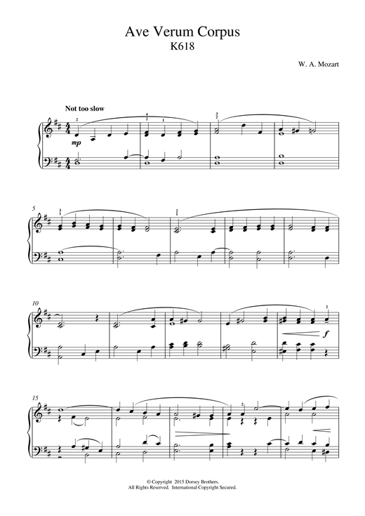 Wolfgang Amadeus Mozart Ave Verum Corpus, K618 sheet music notes and chords. Download Printable PDF.