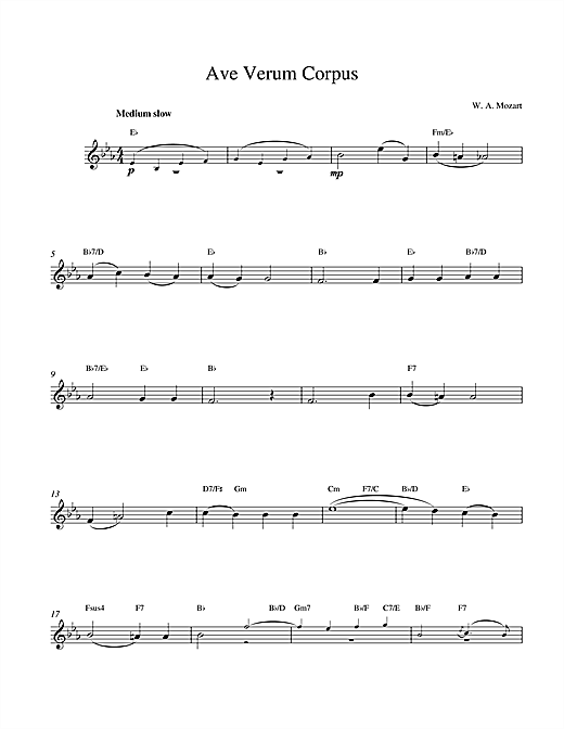 Wolfgang Amadeus Mozart Avernum sheet music notes and chords. Download Printable PDF.