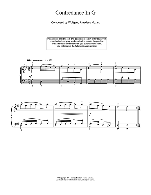 Wolfgang Amadeus Mozart Contredance In G sheet music notes and chords