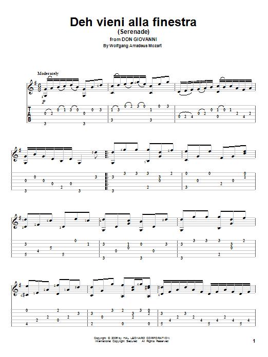 Wolfgang Amadeus Mozart Deh Vieni Alla Finestra (Serenade) sheet music notes and chords. Download Printable PDF.