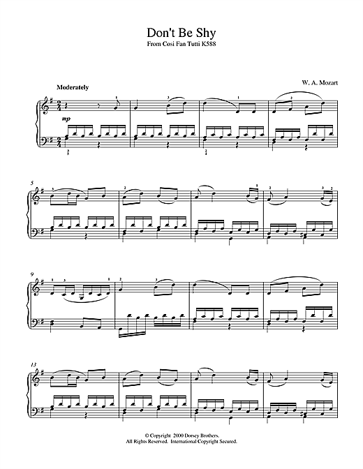 Wolfgang Amadeus Mozart Don't Be Shy (from Cosi Fan Tutti, K588) sheet music notes and chords