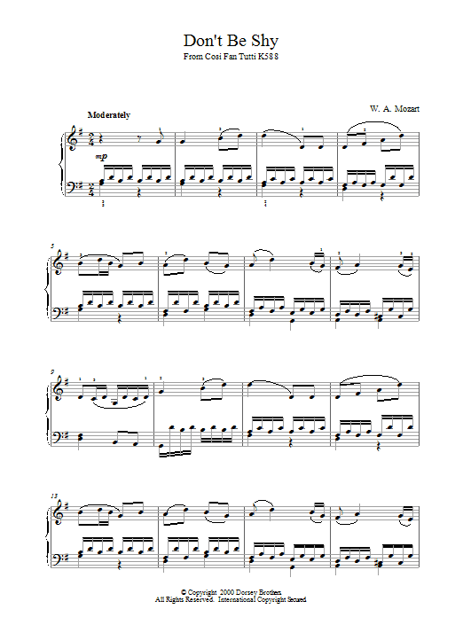 Wolfgang Amadeus Mozart Don't Be Shy (from Cosi Fan Tutti, K588) sheet music notes and chords. Download Printable PDF.