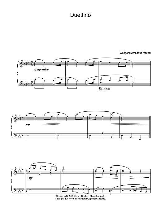 Wolfgang Amadeus Mozart Duettino sheet music notes and chords