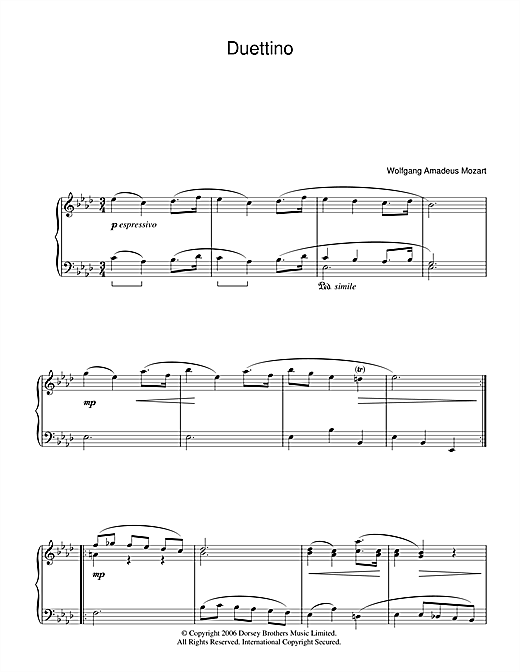 Wolfgang Amadeus Mozart Duettino sheet music notes and chords. Download Printable PDF.