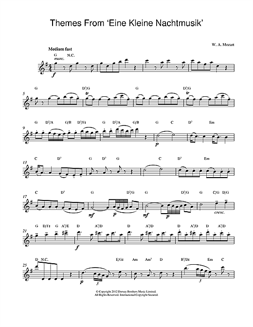 Wolfgang Amadeus Mozart Eine Kleine Nachtmusik sheet music notes and chords