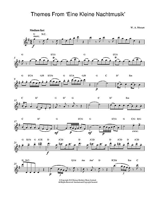 Wolfgang Amadeus Mozart Eine Kleine Nachtmusik sheet music notes and chords. Download Printable PDF.