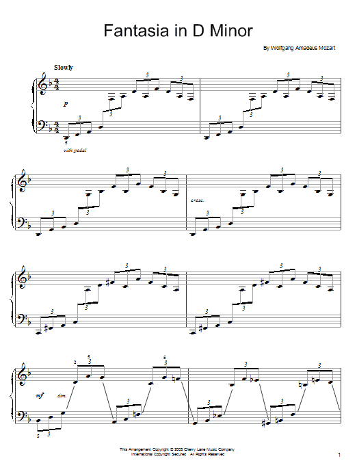 Wolfgang Amadeus Mozart Fantasia in D Minor, K. 397 sheet music notes and chords