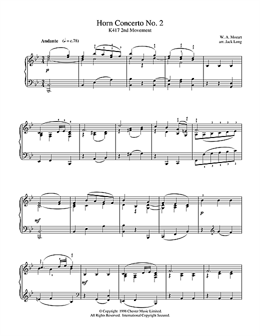 Wolfgang Amadeus Mozart Horn Concerto No. 2 sheet music notes and chords