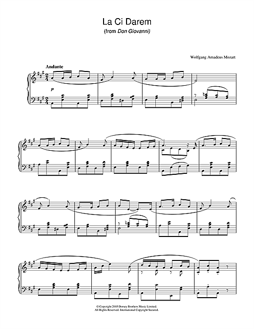 Wolfgang Amadeus Mozart La, Ci Darem La Mano (from Don Giovanni) sheet music notes and chords. Download Printable PDF.