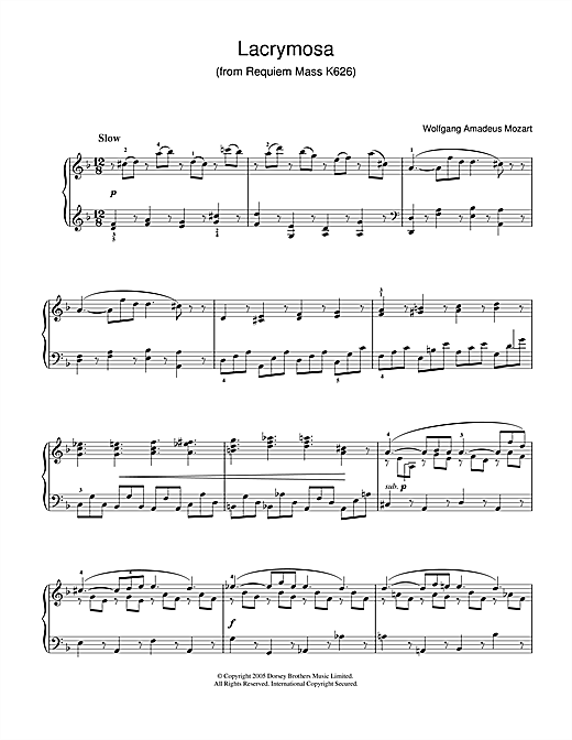 Wolfgang Amadeus Mozart Lacrymosa from Requiem Mass, K626 sheet music notes and chords. Download Printable PDF.