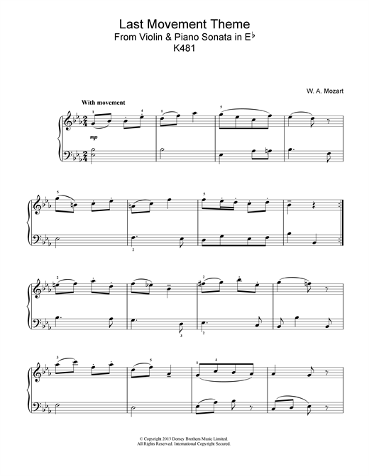 Wolfgang Amadeus Mozart Last Movement Theme from Violin & Piano Sonata in Eb, K481 sheet music notes and chords