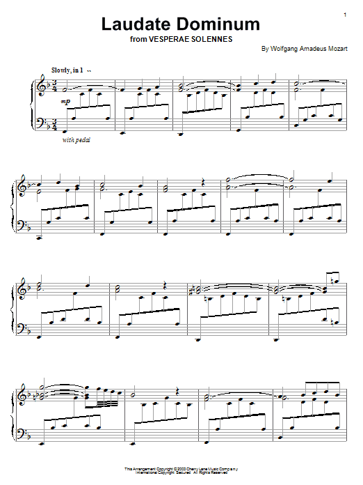 Wolfgang Amadeus Mozart Laudate Dominum (from Vesperae Solennes) sheet music notes and chords