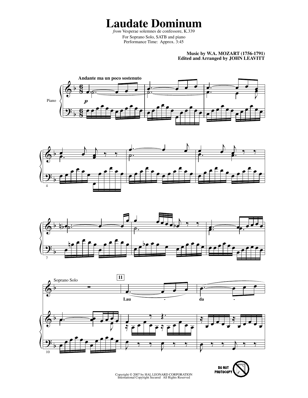 Wolfgang Amadeus Mozart Laudate Dominum (from Vesperae solennes de confessore, K. 339) (arr. John Leavitt) sheet music notes and chords. Download Printable PDF.