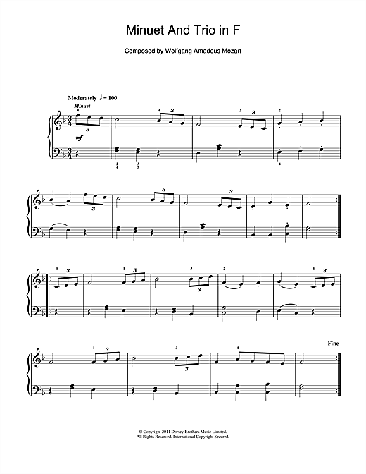 Wolfgang Amadeus Mozart Minuet And Trio in F sheet music notes and chords. Download Printable PDF.