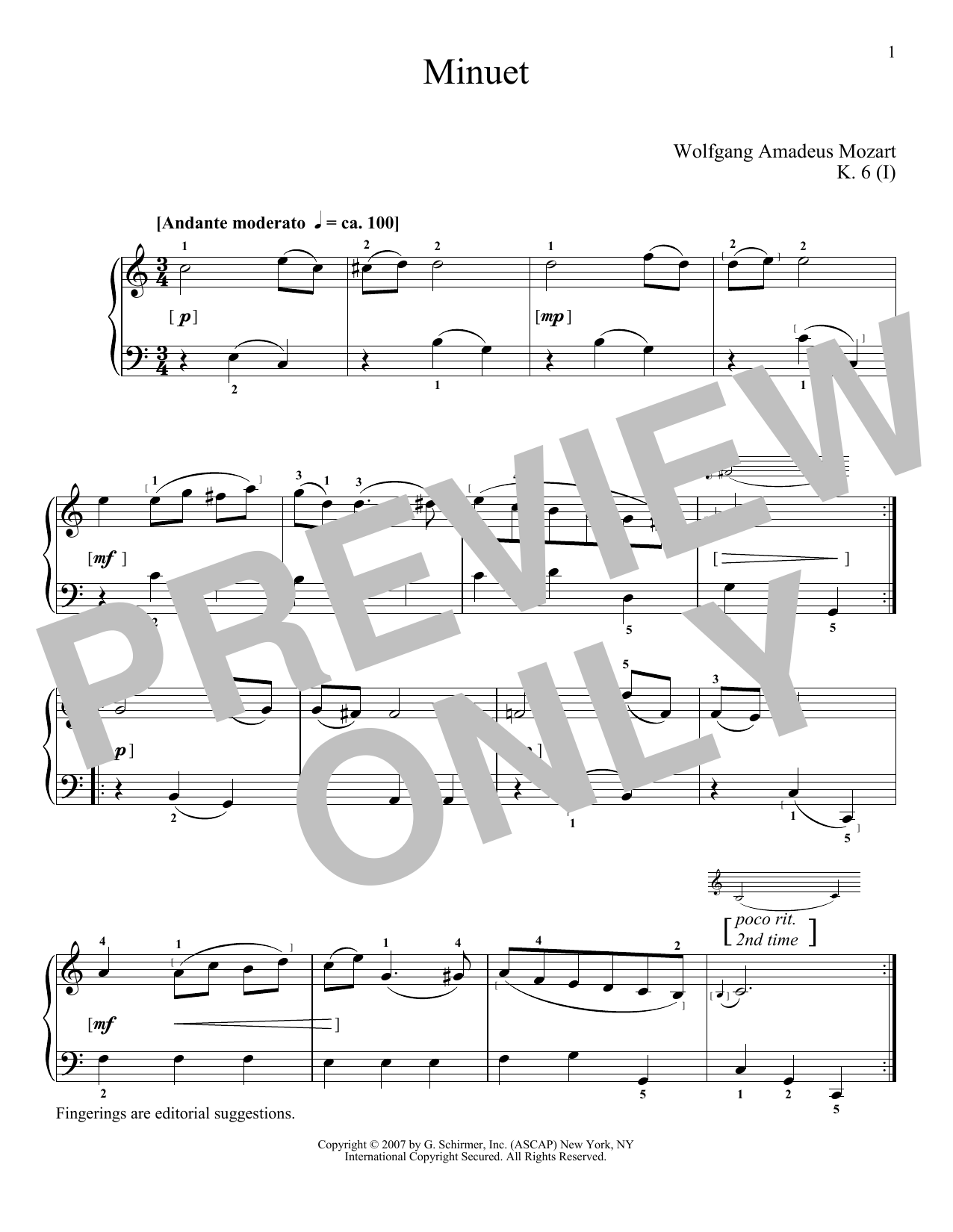 Wolfgang Amadeus Mozart Minuet In C Major, K. 6 sheet music notes and chords. Download Printable PDF.