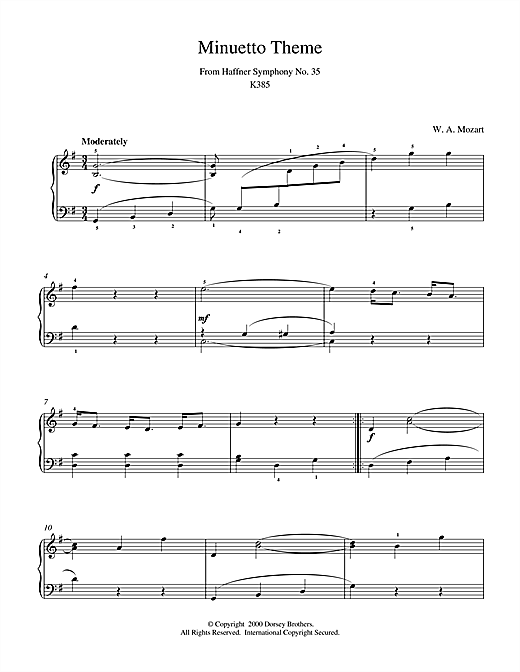 Wolfgang Amadeus Mozart Minuetto Theme From Haffner Symphony No. 35 K385 sheet music notes and chords