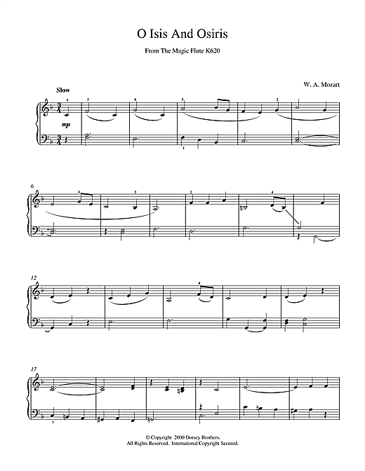 Wolfgang Amadeus Mozart O Isis And Osiris From The Magic Flute K620 sheet music notes and chords