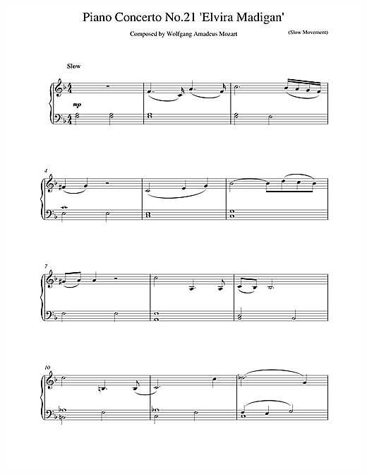 Wolfgang Amadeus Mozart Piano Concerto No.21 in C Major (Elvira Madigan), 2nd Movement Excerpt sheet music notes and chords. Download Printable PDF.