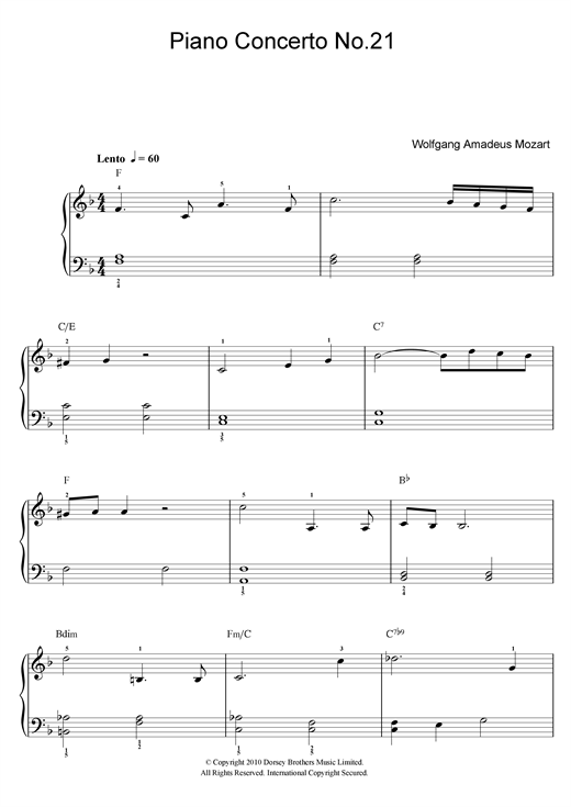 Wolfgang Amadeus Mozart Piano Concerto No. 21 In C Major (Second Movement) sheet music notes and chords