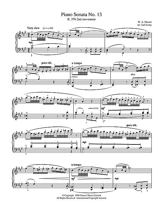 Wolfgang Amadeus Mozart Piano Sonata No.13 sheet music notes and chords