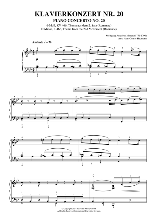 Wolfgang Amadeus Mozart Romance (2nd Movement Theme) from Piano Concerto No.20, K466 sheet music notes and chords