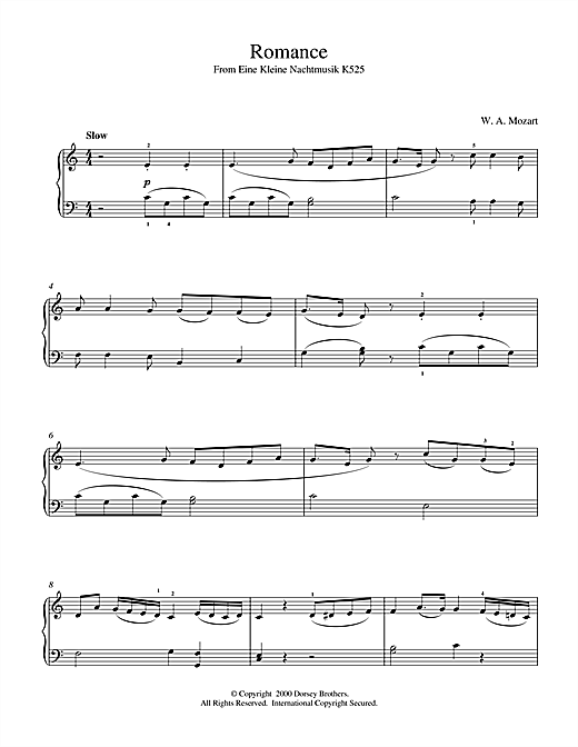 Wolfgang Amadeus Mozart Romance from Eine Kleine Nachtmusik K525 sheet music notes and chords
