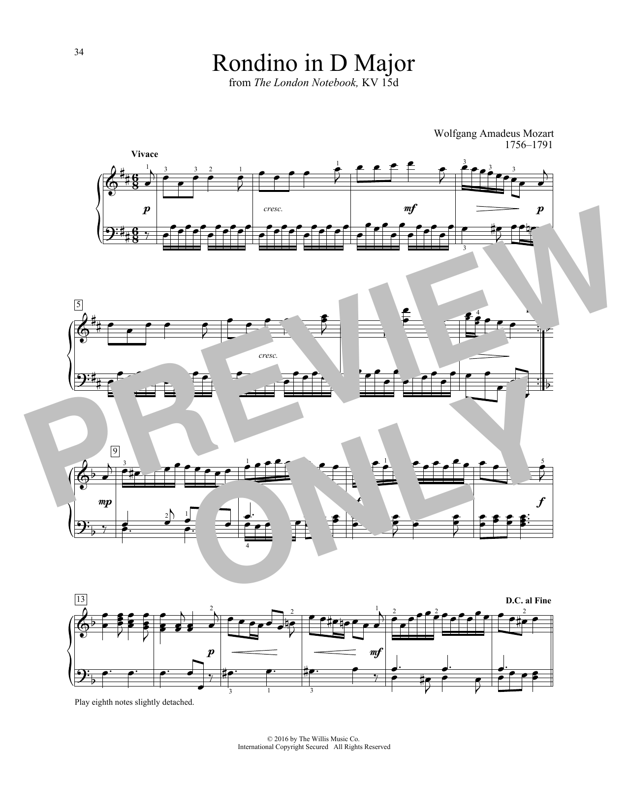 Wolfgang Amadeus Mozart Rondino In D Major sheet music notes and chords. Download Printable PDF.