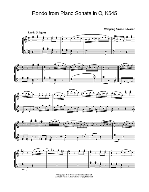 Wolfgang Amadeus Mozart Rondo (from Piano Sonata In C, K545) sheet music notes and chords. Download Printable PDF.