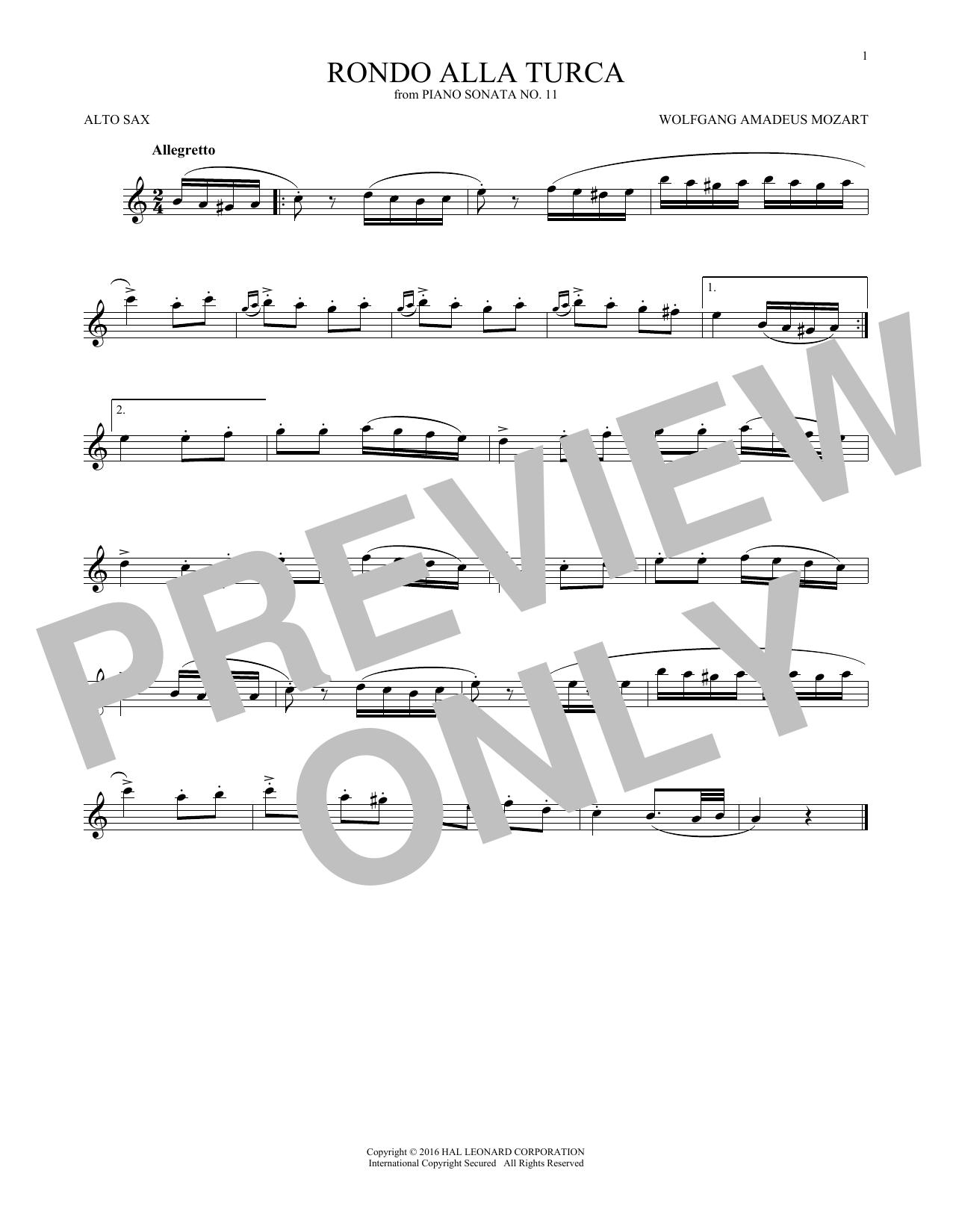 Wolfgang Amadeus Mozart Rondo Alla Turca sheet music notes and chords. Download Printable PDF.