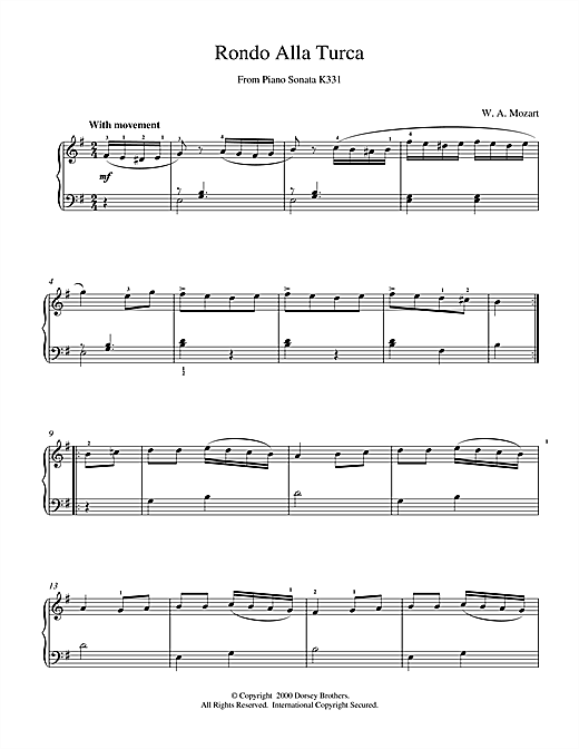 Wolfgang Amadeus Mozart Rondo Alla Turca, from the Piano Sonata A Major, K331 sheet music notes and chords. Download Printable PDF.