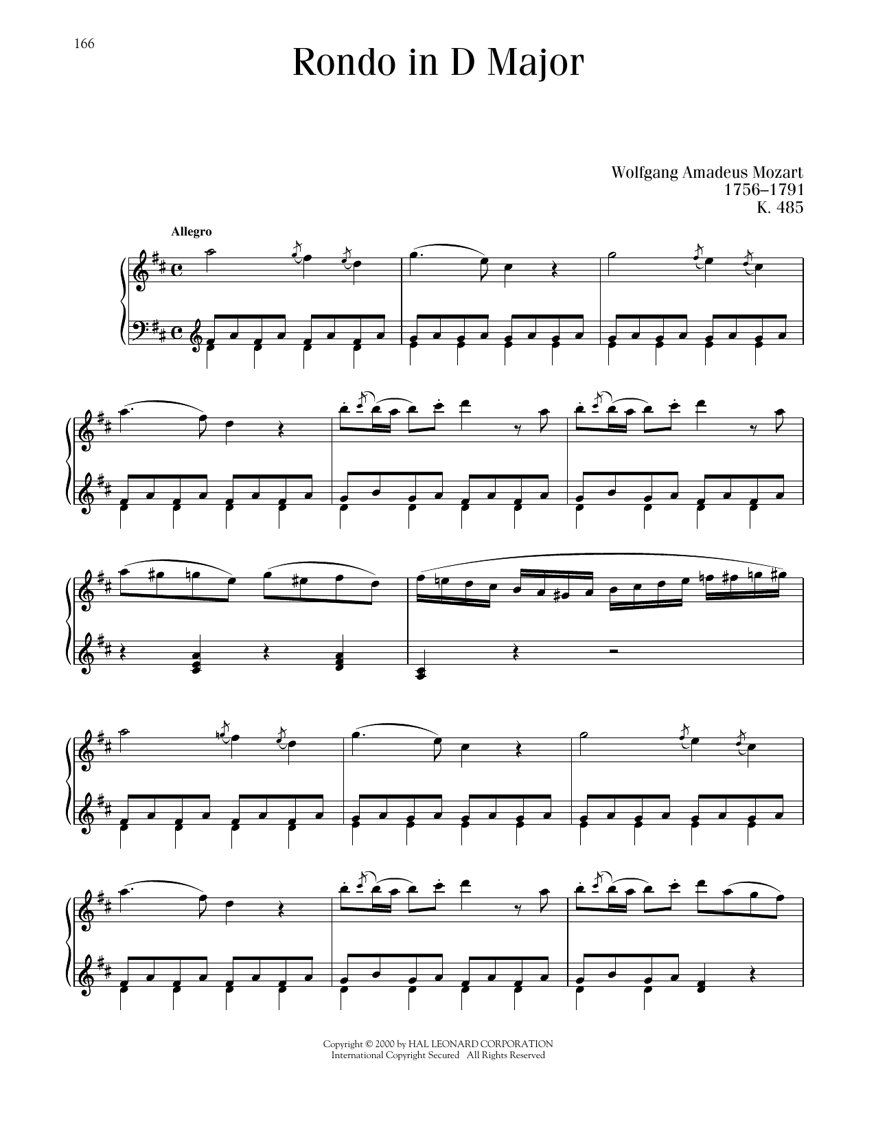 Wolfgang Amadeus Mozart Rondo In D Major, K. 485 sheet music notes and chords. Download Printable PDF.