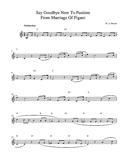 Wolfgang Amadeus Mozart Say Goodbye Now To Pastime sheet music notes and chords