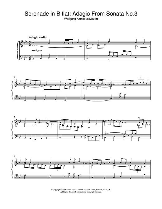 Wolfgang Amadeus Mozart Serenade in B flat: Adagio From Sonata No.3 sheet music notes and chords. Download Printable PDF.