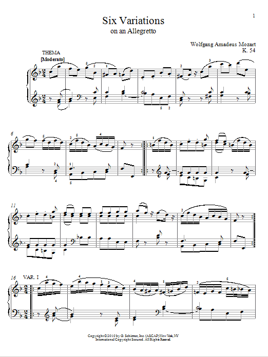 Wolfgang Amadeus Mozart Six Variations on An Allegretto, K. 54 sheet music notes and chords