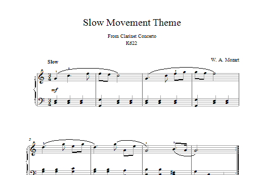 Wolfgang Amadeus Mozart Slow Movement Theme (from Clarinet Concerto K622) sheet music notes and chords. Download Printable PDF.