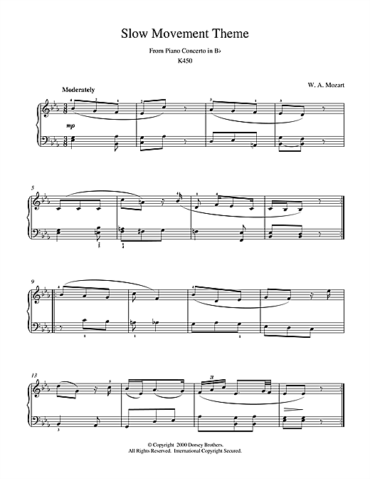 Wolfgang Amadeus Mozart Slow Movement Theme from Piano Concerto in B Flat K450 sheet music notes and chords