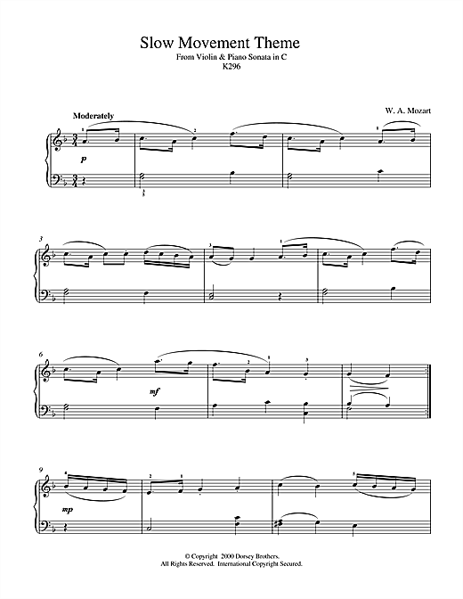 Wolfgang Amadeus Mozart Slow Movement Theme from Violin & Piano Sonata in C, K296 sheet music notes and chords. Download Printable PDF.