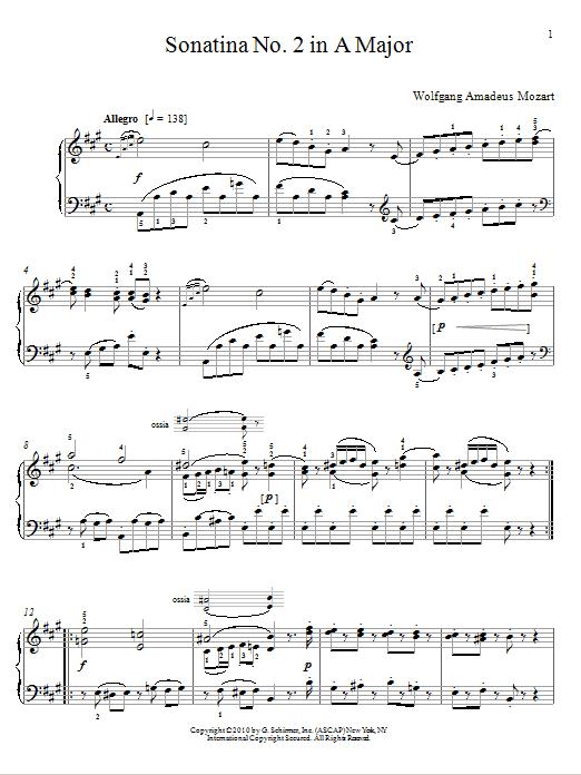 Wolfgang Amadeus Mozart Sonatina No. 2 In A Major sheet music notes and chords. Download Printable PDF.