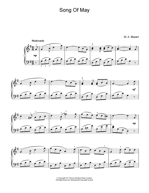 Wolfgang Amadeus Mozart Song Of May sheet music notes and chords