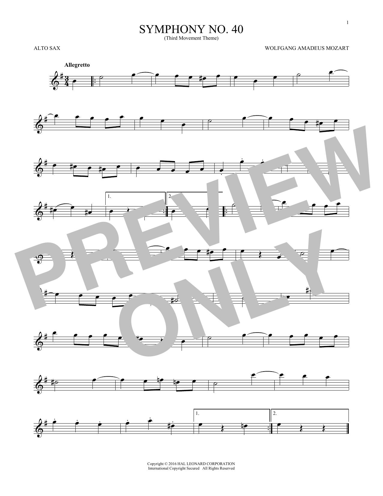 Wolfgang Amadeus Mozart Symphony No. 40 In G Minor, Third Movement (
