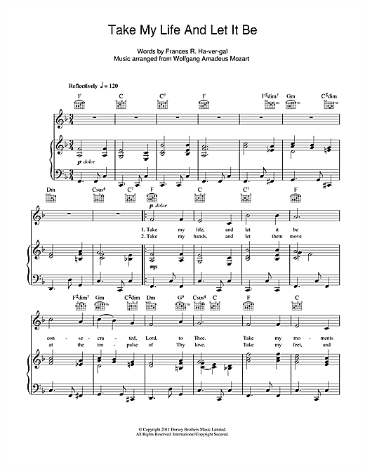 Wolfgang Amadeus Mozart Take My Life And Let It Be sheet music notes and chords. Download Printable PDF.