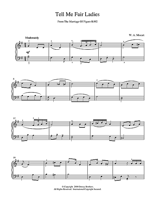 Wolfgang Amadeus Mozart Tell Me Fair Ladies sheet music notes and chords