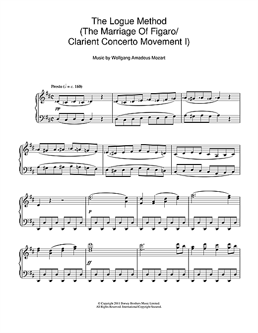 Wolfgang Amadeus Mozart The Logue Method (The Marriage Of Figaro/Clarient Concerto Movement I) sheet music notes and chords. Download Printable PDF.
