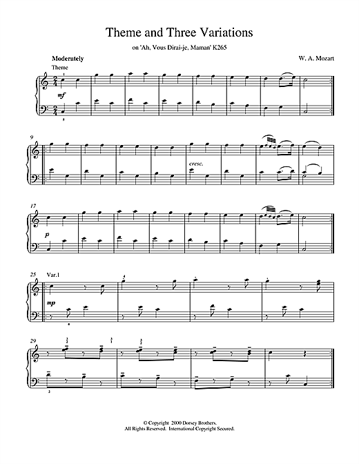 Wolfgang Amadeus Mozart Theme and Three Variations on 'Ah, Vous Dirai-je, Maman' K265 sheet music notes and chords