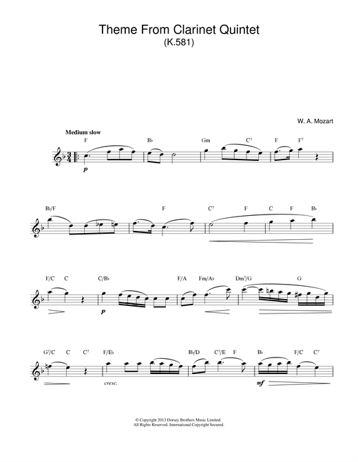 Wolfgang Amadeus Mozart Theme From Clarinet Quintet, K581 sheet music notes and chords