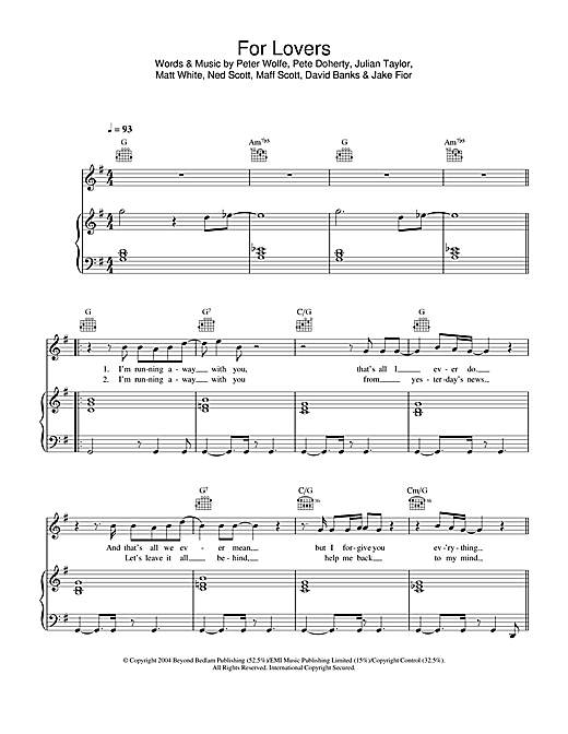 Wolfman For Lovers (feat. Pete Doherty) sheet music notes and chords. Download Printable PDF.