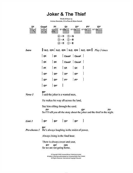 Wolfmother Joker & The Thief sheet music notes and chords. Download Printable PDF.