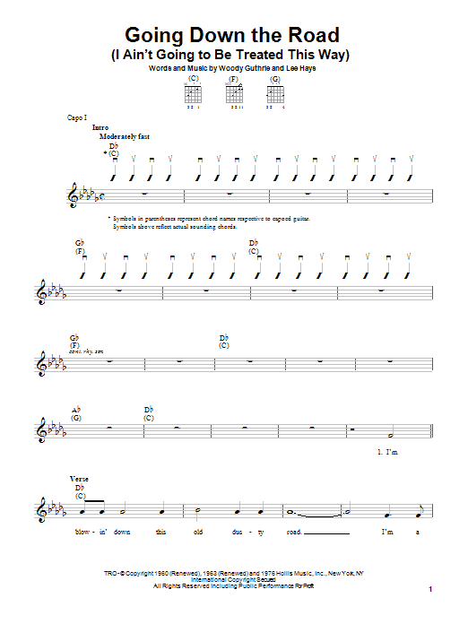 Woody Guthrie Going Down The Road (I Ain't Going To Be Treated This Way) sheet music notes and chords. Download Printable PDF.