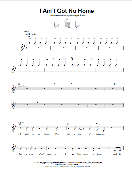 Woody Guthrie I Ain't Got No Home sheet music notes and chords. Download Printable PDF.